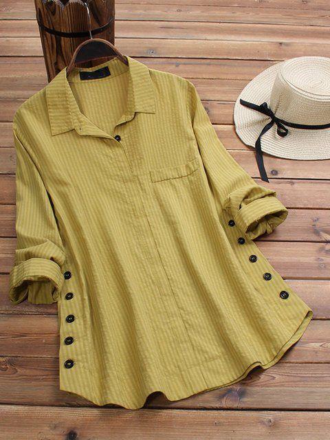 Shop Blouses & Shirts - Buttoned Shirt Collar Casual Cotton Blouses & Shirts online. Discover unique designers fashion at popjulia.com. #fashiondesign