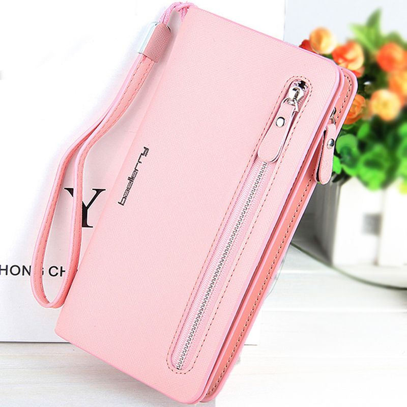 $16.50 (Buy here: http://appdeal.ru/4s5h ) 2016 Fashion Women Wallets Dull Polish Leather Wallet Double Zipper Day Clutch Purse Wristlet Portefeuille Handbags Carteira for just $16.50