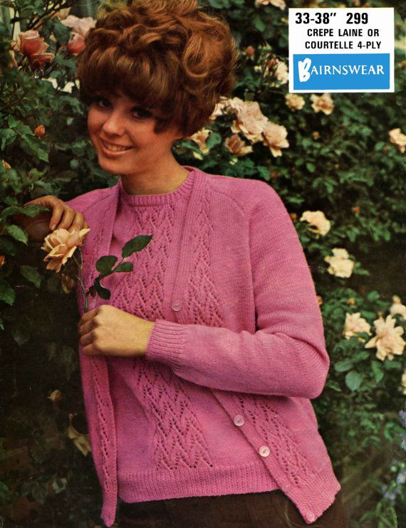 6f4634b05da Vintage Ladies Twin Set Cardigan Jumper Knitting by LittleJohn2003 ...