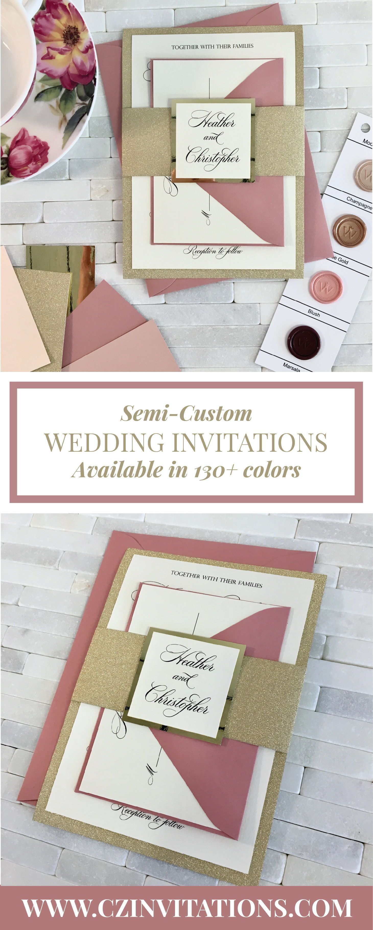 These unique Dusty Pink wedding invitations are perfect for spring ...