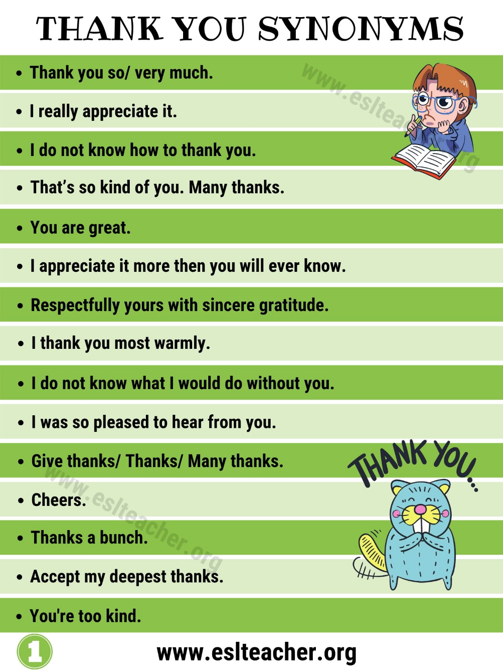 Thank You Synonym 50 Creative Ways To Say Thank You Lessons And Worksheets For Esl Teachers And English Students Other Ways To Say Synonym Learn English
