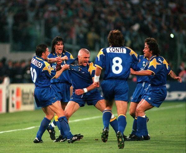 Fabrizio Ravanelli celebrates scoring in the 1996 Champions League Final for Juventus