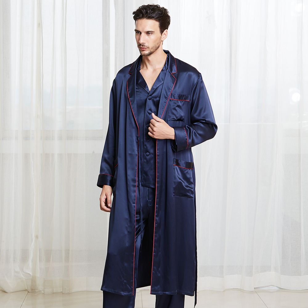 f841166600 22 Momme Casual Long Silk Pyjamas   Dressing Gown Set for Men Silk Pajamas