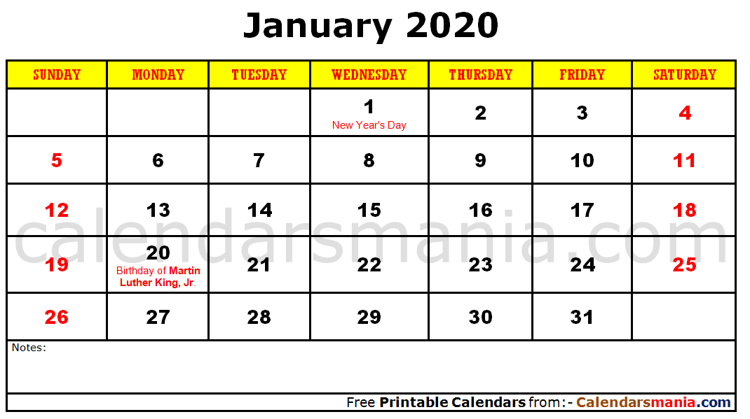 January 2020 Calendar Holidays Holiday Calendar Calendar Holiday Templates