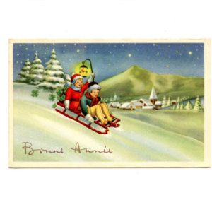 New Year Greetings Bonne Annee Postcard ~ Pretty Girl and Boy Sliding down Hill with Lantern ~ 1190P