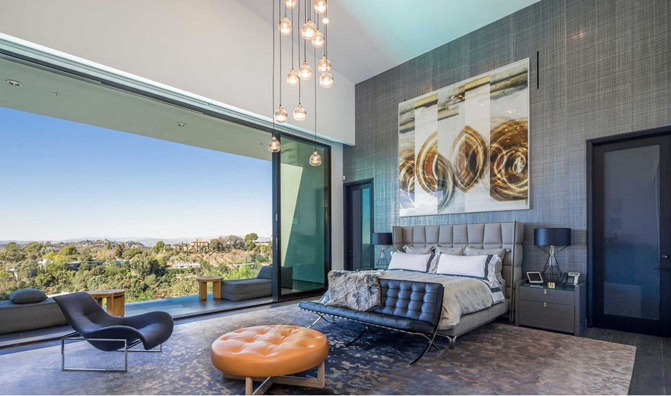modern mansion master bedroom with panoramic view from Beverly
