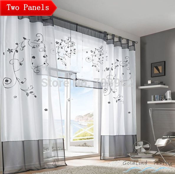 USA Pastoral Embroidered Sheer Curtains Screens Living Room Den Bedroom Tab