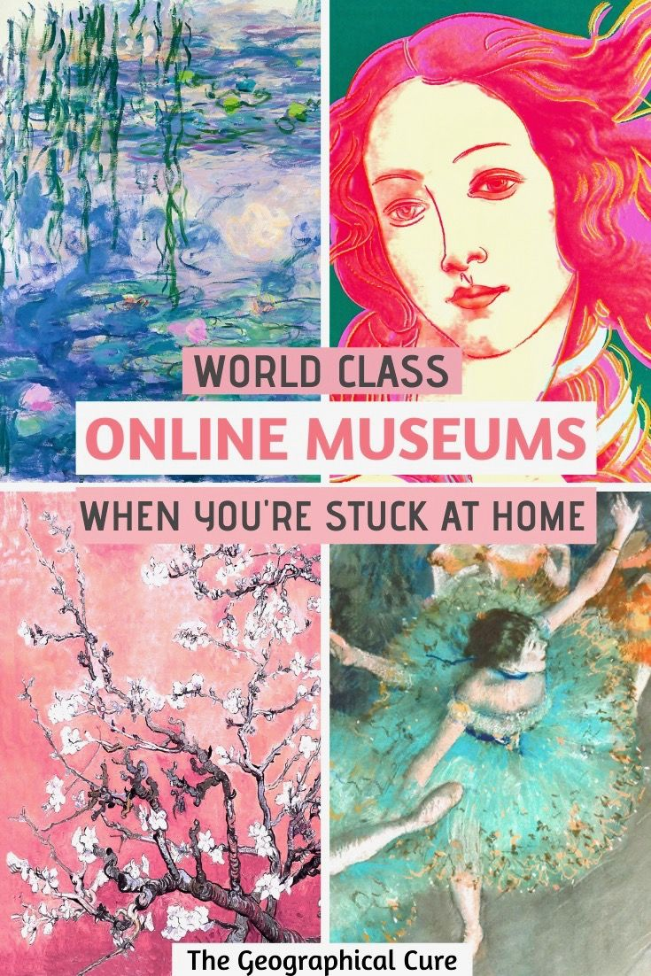 Stuck inside? If you need some cultural comfort or inspiration, now's the perfect time to check out some of the best online museum tours without leaving your couch or computer. Here's my guide to 25 museums with virtual tours to enjoy and explore #ArtMuseums #VirtualTours #Europe #Paris #Madrid #NYC #VirtualMuseums