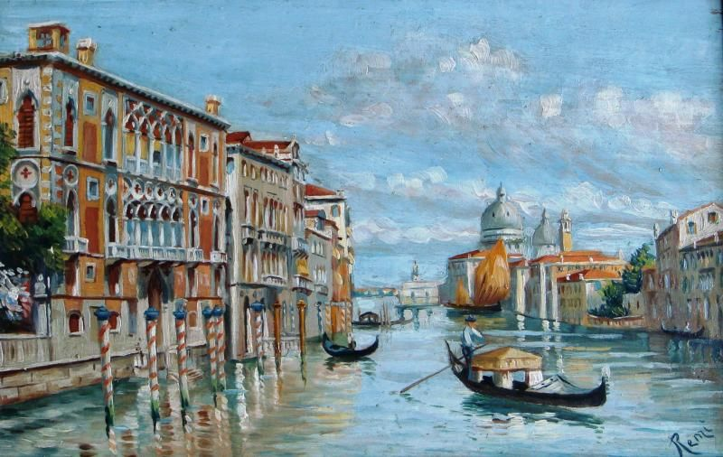 Signed oil on board of Venetian canal scene £74 plus postage