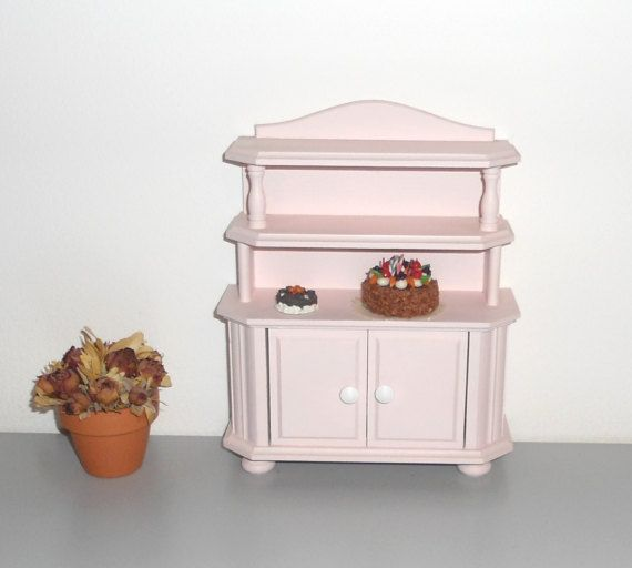 Mobile miniature pink kitchen cabinet for dolls cupboard miniature furniture decoupage doll - Decoupage mobili cucina ...