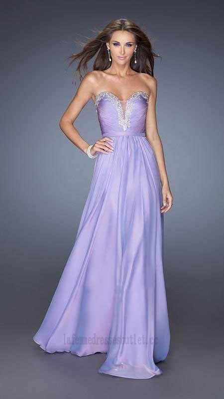 Embellished Bodice Lavander Strapless Prom Dresses By La Femme 20027