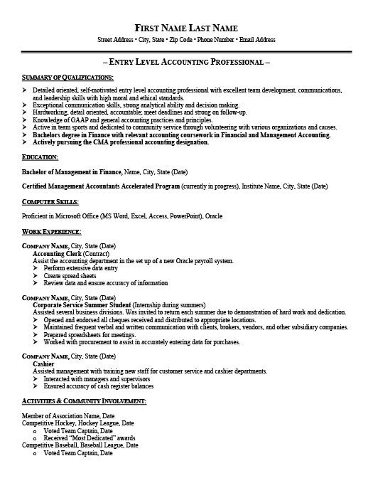 Entry Level Accounting Resumes Alluring Entrylevel Accountant Resume Template  Premium Resume Samples .