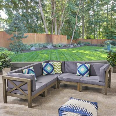 Noble House Hadlee Gray 5-Piece Wood Outdoor Sectional with Dark Gray Cushions-54519 - The Home Depot