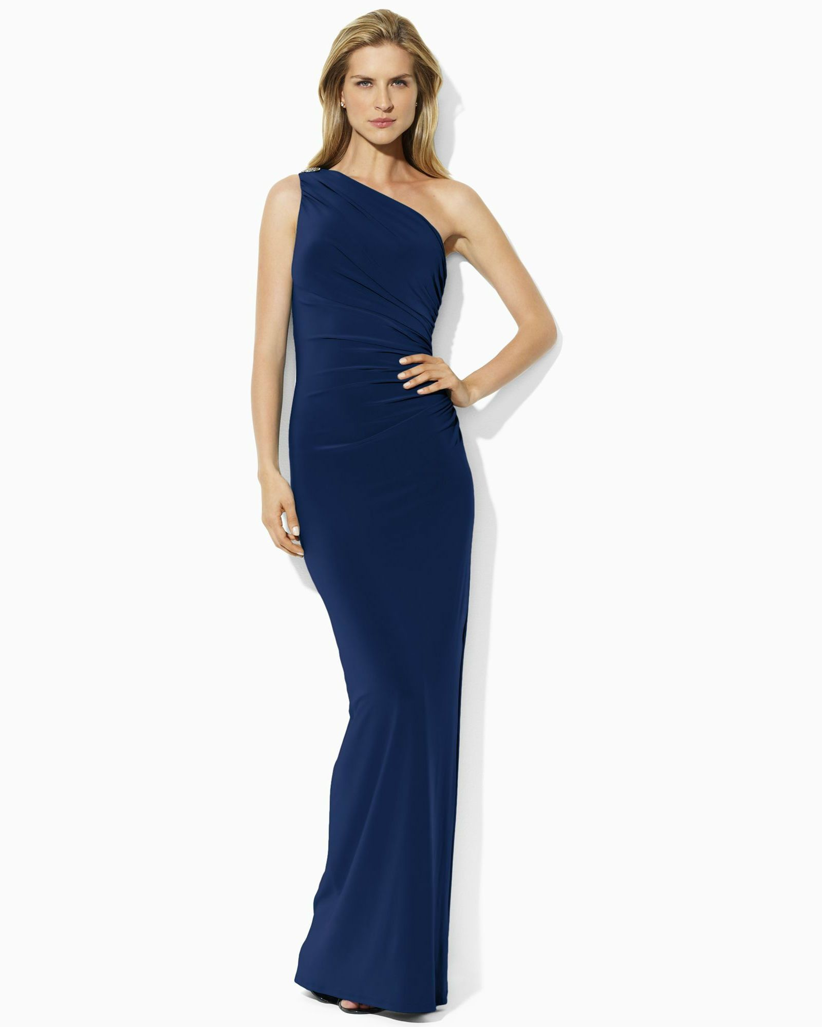 626499f2738f Crafted from sleek matte jersey, Lauren Ralph Lauren's floor length dress  exudes a subtle, sexy appeal with a one shoulder silhouette and a jewel  encrusted ...