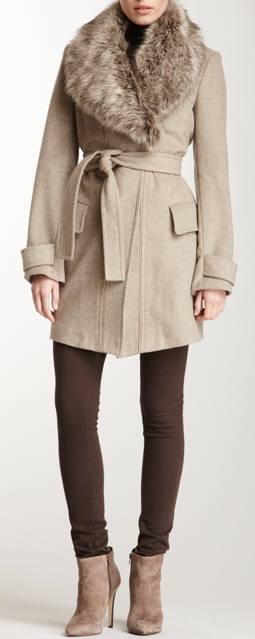 Faux Fur Shawl Coat