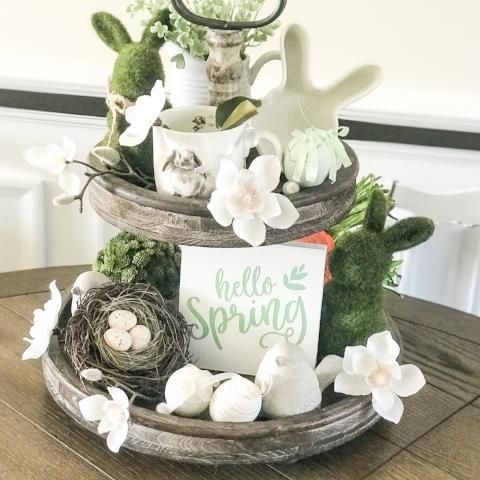 Rustic Tiered Tray Decor | Spring Easter Table Decor | Hello Spring 5x 5 Sign - Jarful House #tieredtraydecor