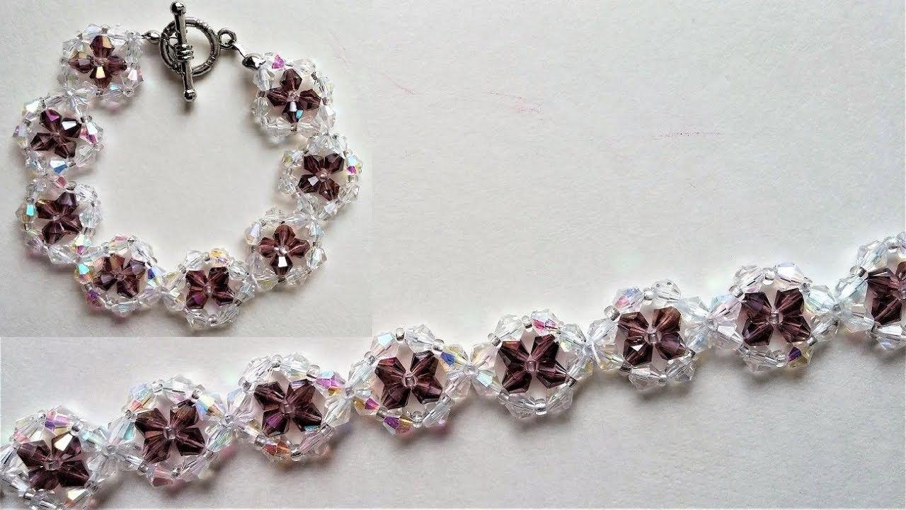 Photo of Swarovski Crystal Bracelet Beading.Jewelry Making Tutorial