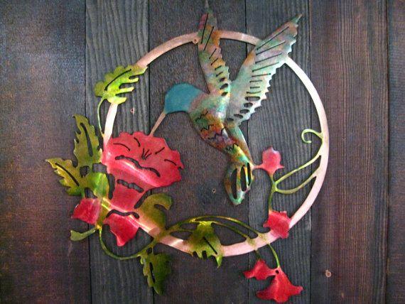 Hummingbird Flower Metal Art, Mothers Day Gift, Gift For Mom, Hummingbird  Home Decor