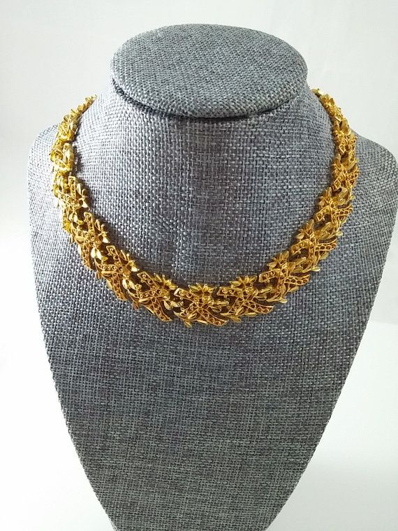Vintage Necklace Gold Tone Flat Choker Textured by