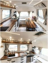 Photo of Renovated 200 square-foot Airstream camper fits family of five – kitchen #campin…