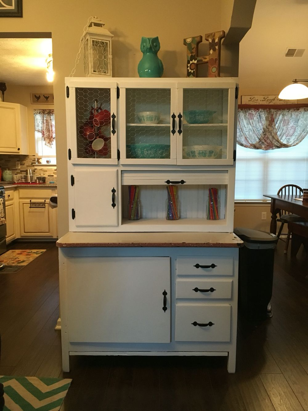Refinished Hoosier Cabinet With New Chicken Wire Doors And New Hardware Hoosier Cabinet Hoosier Cabinets Kitchen Table Redo