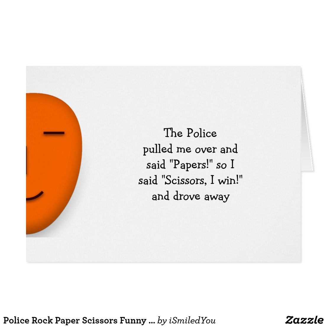 Attractive Police Rock Paper Scissors Funny Joke Quote Custom Card