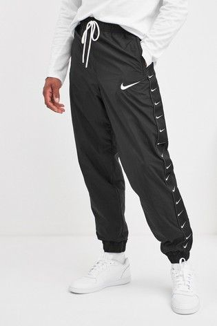 Nike Black Swoosh Woven Joggers Modest Workout Clothes White Overalls Outfit Hoodie Fashion