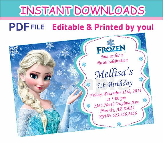 Instant Download Frozen Invitation Birthday By Funpartydesigns Frozen Invitations Awesome Party Invitations Frozen Birthday Invitations