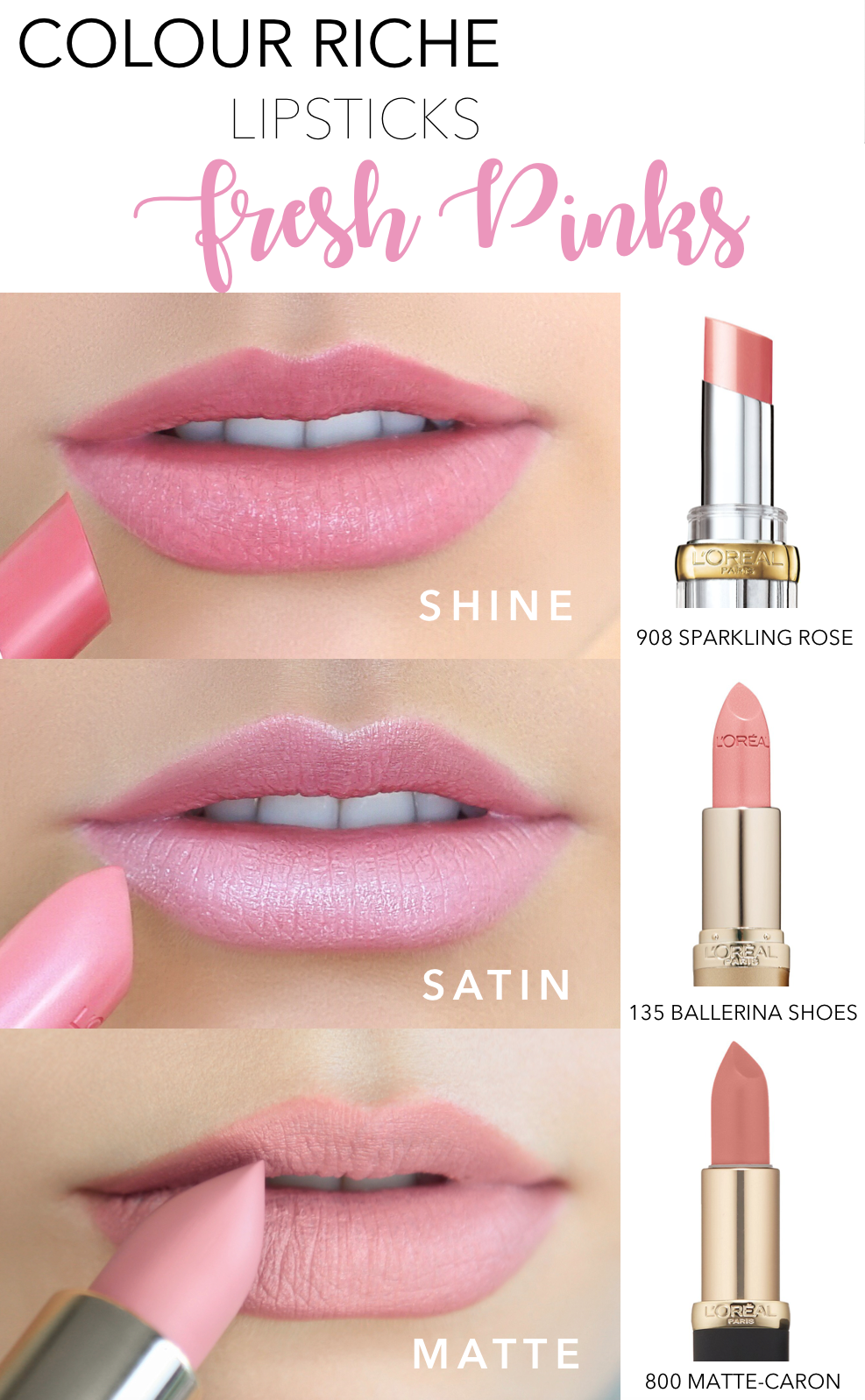 f58f147058b26 Fresh pink lip shades for Summer featuring L'Oreal Colour Riche ...