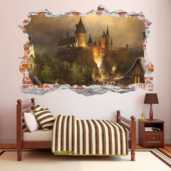 Hogwarts Castle Harry Potter 3d Smashed Wall Decal Wall Sticker Wall Vinyl Harry Potter Room Decor Harry Potter Room Harry Potter Wall
