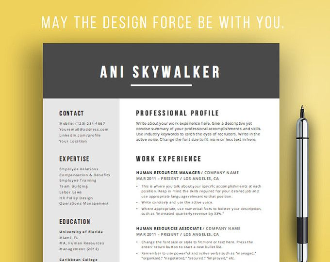 Creative Resume Template Creative CV Design for Word Simple - creative resume templates for mac