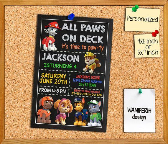 Magnifiek Paw Patrol uitnodiging / Paw Patrol verjaardag / Paw Patrol partij @GG15