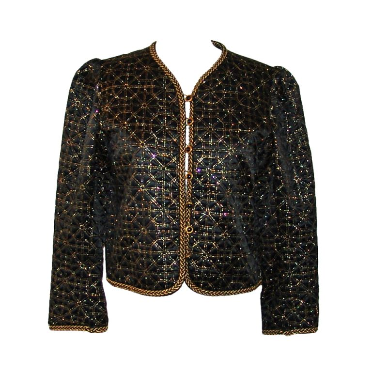 65fc45f795 Vintage YSL Black and Gold Brocade Evening Jacket | Yves Saint ...