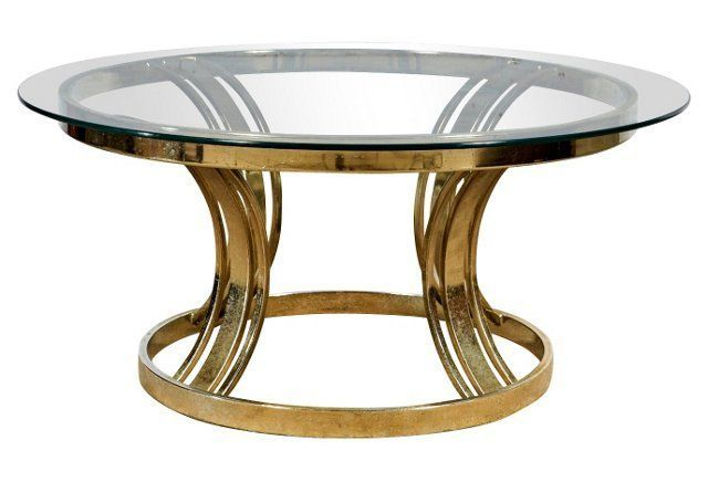1970s Round Brass Glass Top Side Table Side Table Glass Top Side Table Table