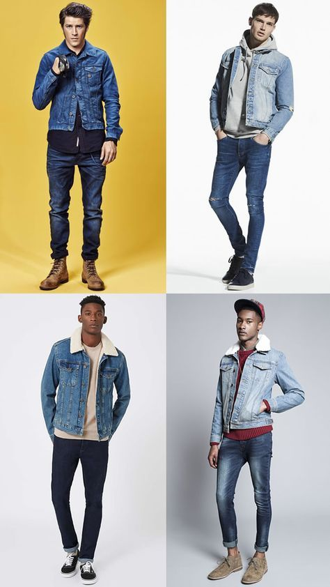 9cac5e8c19f5 Men s Dark Wash Jeans With A Light Wash Denim Jacket Outfit Combinations Inspiration  Lookbook