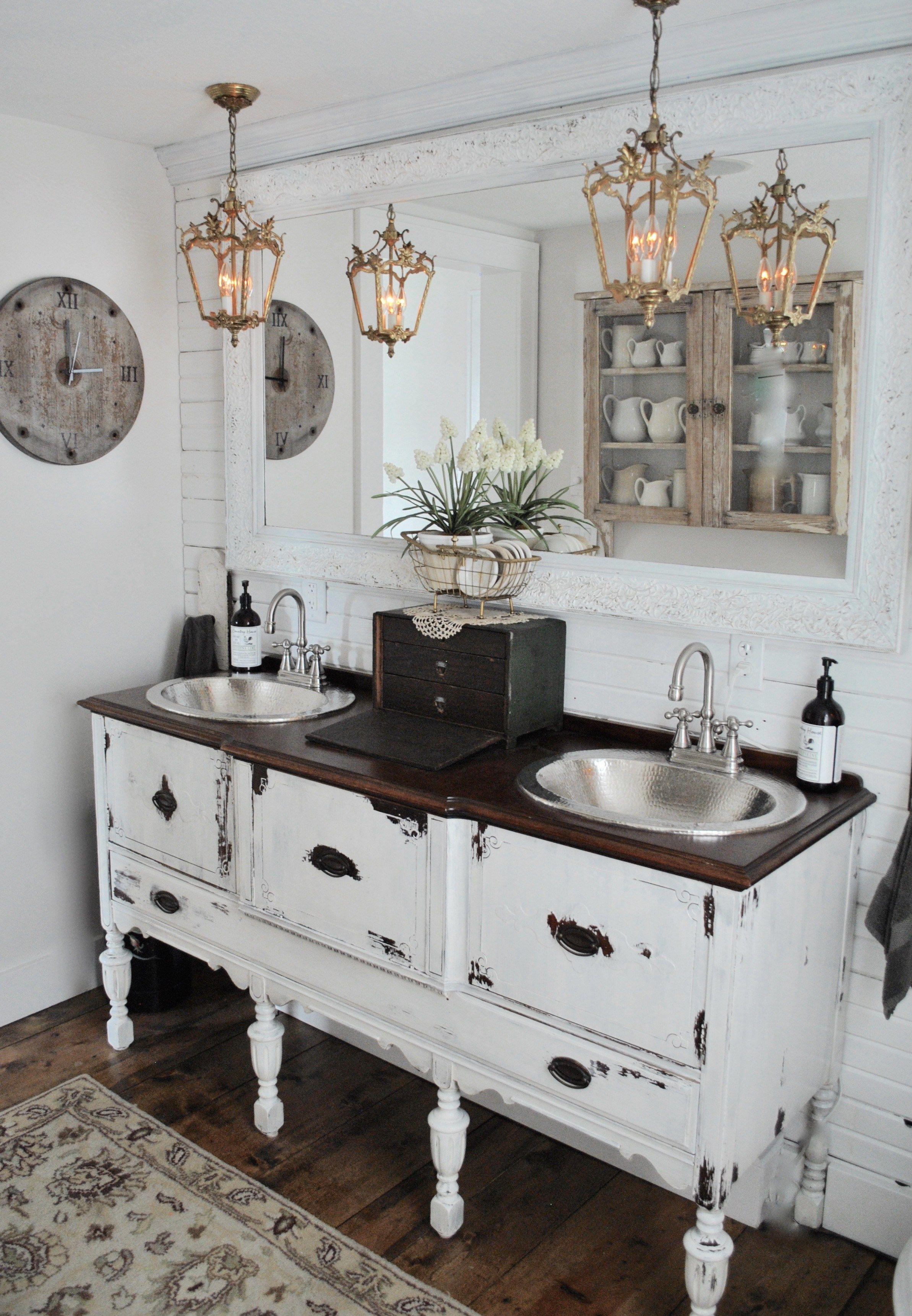 Bathroom reveal day which we accomplished turning an antique buffet