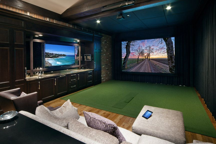 Media Room With Two Screens And Golf Simulation Setup