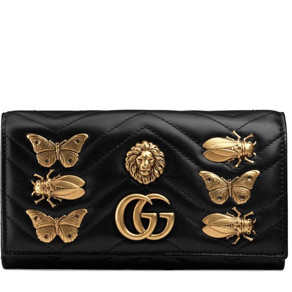 fbe28ab64 Gucci Gg Marmont Animal Studs Continental Wallet (11.024.550 IDR) ❤ liked  on Polyvore featuring bags, wallets, accessories, black, wallets & small ...