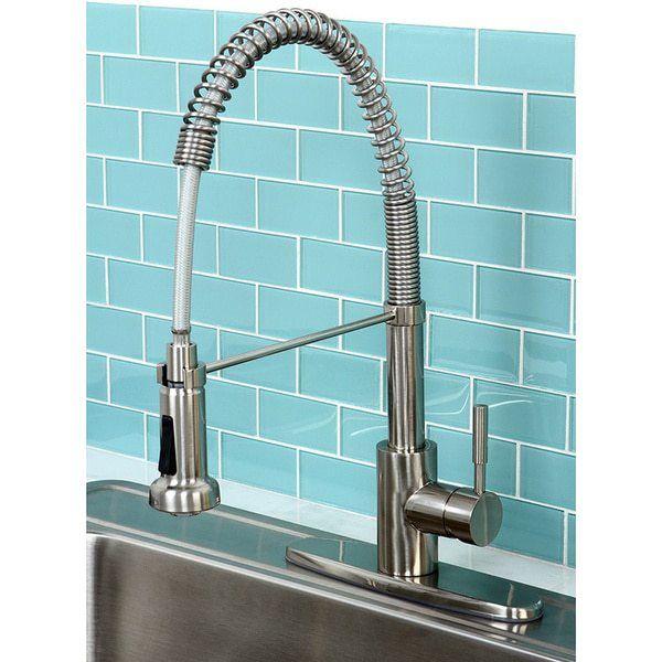 Satin Nickel Spiral Pulldown Kitchen Faucet Overstock Modern Satin Nickel Spiral Pull Kitchen Modern Kitchen Faucet Kitchen Faucet Single Handle Kitchen Faucet
