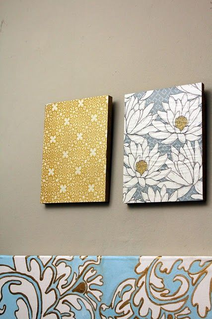 Mod Podge scrap book paper onto frames or wood blocks for cheap and ...