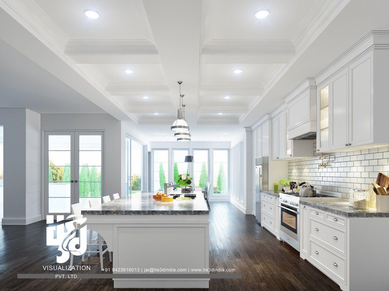 Hs3d Visualization Pvt Ltd Modern Kitchen Interiors