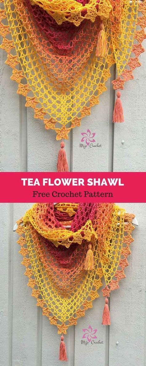 Tea Flower Shawl Free Crochet Pattern Understanding Crocheting