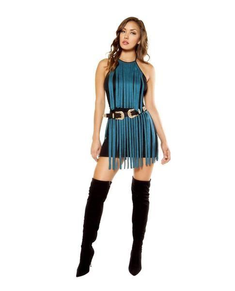 Suede Fringe Mini Dress