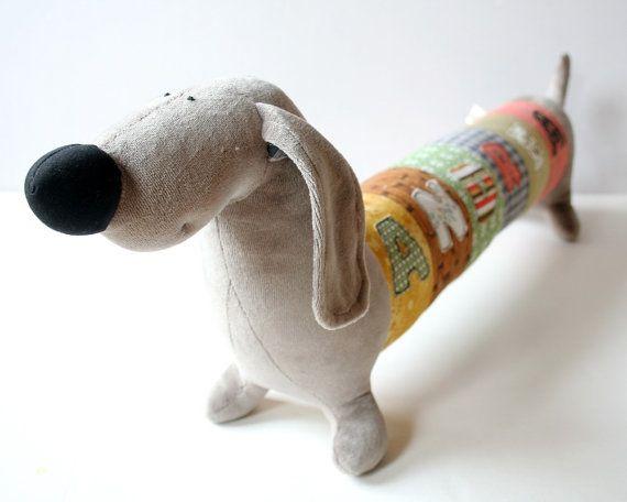 Personalized Dachshund Puppy Nursery Decor Long Plush Stuffed