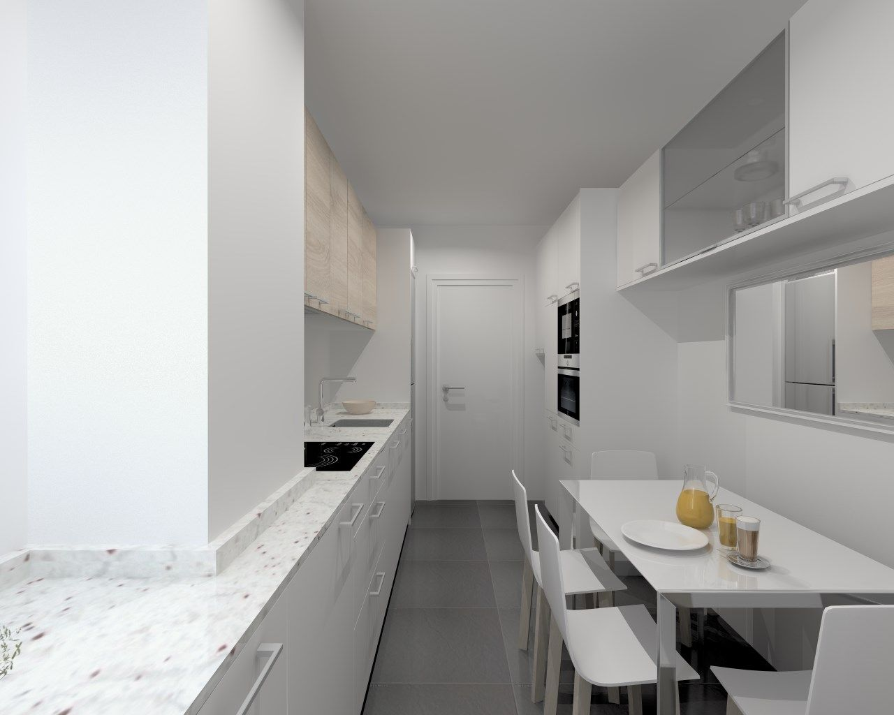 Cocina santos modelo ariane estratificado blanco encimera for Encimera granito blanco