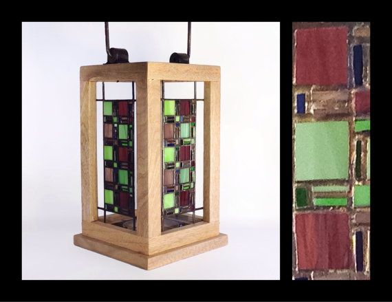 Fenestra  Stained Glass Lantern by smashglassworks on Etsy