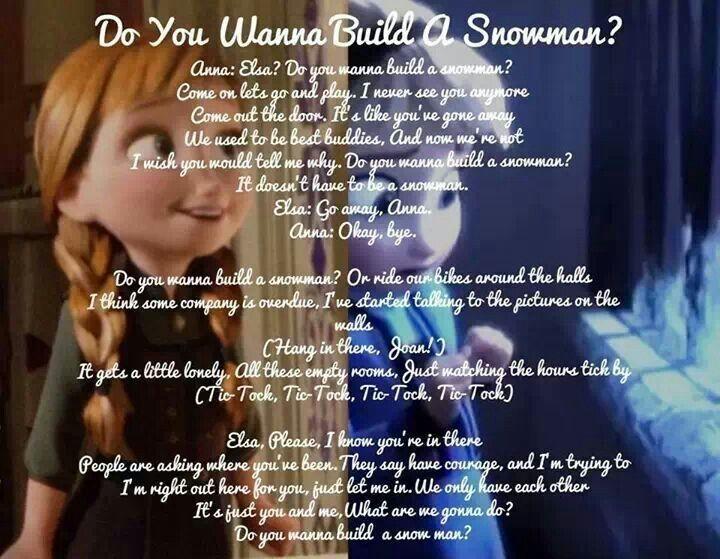 Do You Wanna Build A Snowman Disney Songs Disney Frozen