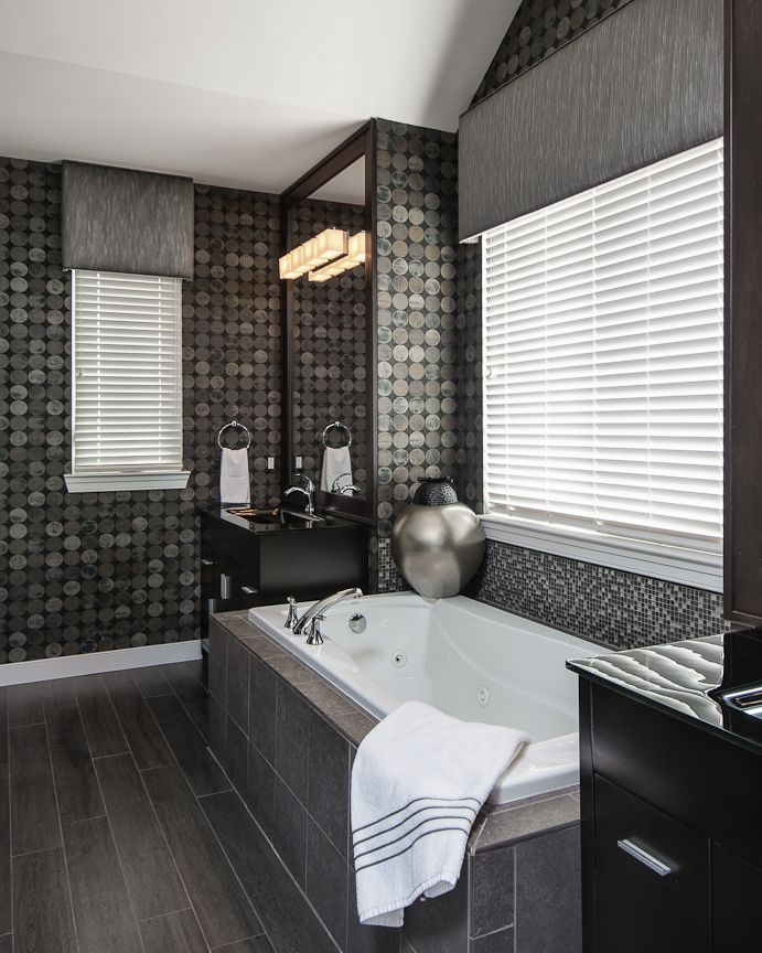 In love with grey hardwood tile flooring in bathrooms || Express ...