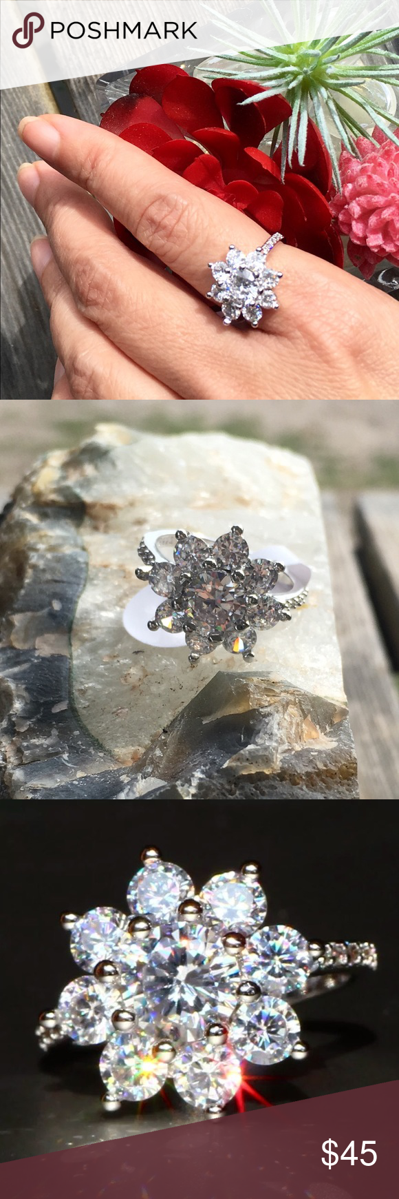 Dahlia Flower Ring Size 7 White Sapphire Jewelry Sapphire Jewelry Ring Dahlia Flower