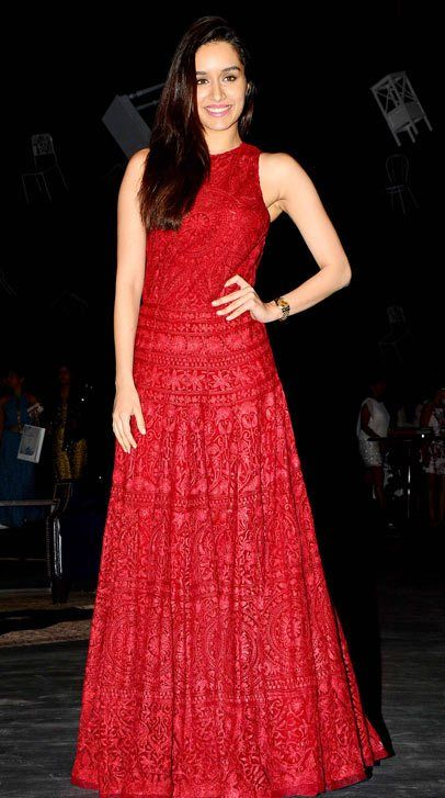 0b3a7845bad6 Shraddha Kapoor in Designer Red Maxi Gown